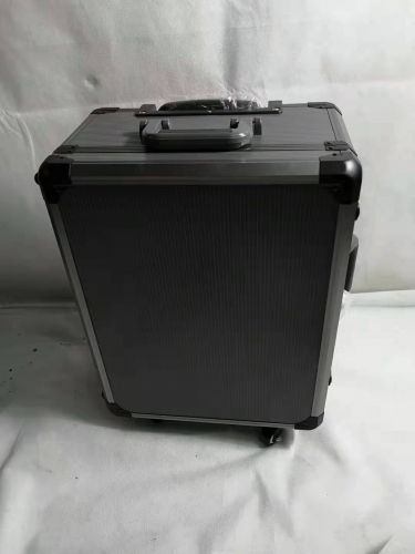 gray stripe tool case with wheels and pull rod